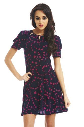 AX Paris Heart Print Cut Out Neck Dress(Pink, Size:6)