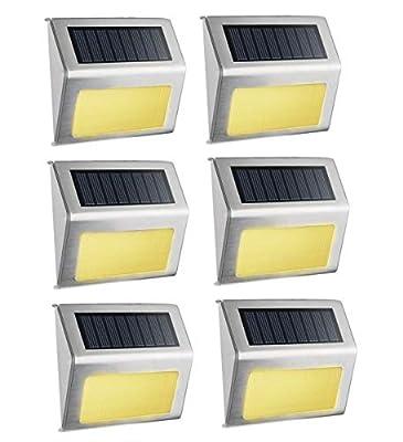 Warm White Solar Light, SimPra Outdoor Stainless Steel LED Solar Step Light; Illuminates Stairs, Deck, Patio, Etc (Warm White 6 Pack)