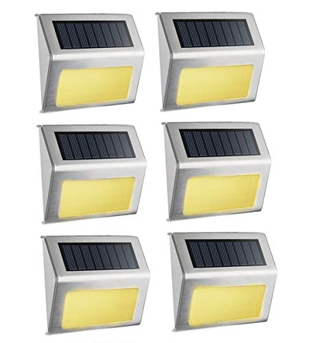 Warm White Solar Light, SimPra Outdoor Stainless Steel LED Solar Step Light; Illuminates Stairs, Deck, Patio, Etc (Warm White 6 Pack)