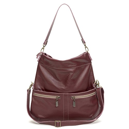 Plum Pebble Grain Italian Leather Foldover Crossbody by Brynn Capella Handbags