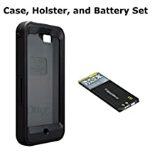 Otterbox Defender Blackberry Z10 Case and Holster (Black) and 1800mAh LS1 Lithium-Ion Replacement Battery Set