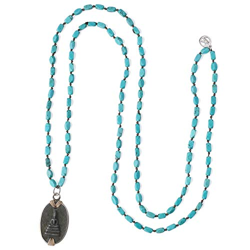KELITCH Multiple Buddha Pendant Necklaces Long Chain Strands Beaded Necklaces Handmade Jewelry for Women Girls (Blue B)