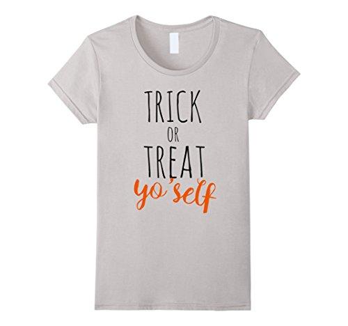 (Women's Trick or Treat yo'self t-shirt fun halloween party joke tee Large)