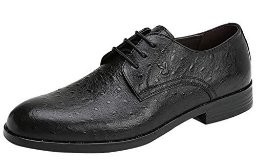 Scarpe Stringate Da Uomo In Pelle Scarpe Da Lavoro In Pelle Moda Punta Comfort Black