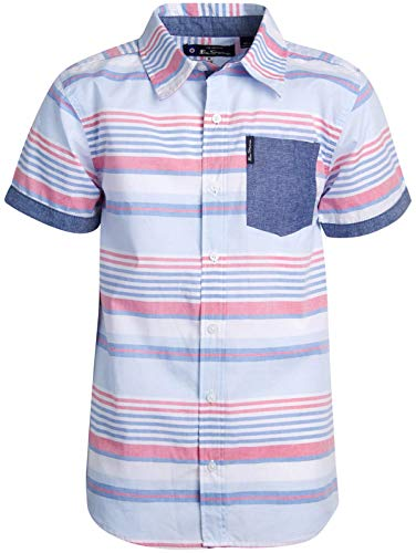 (Ben Sherman Boys Short Sleeve Button Down Shirt (Blue/Red Stripes, 18)')