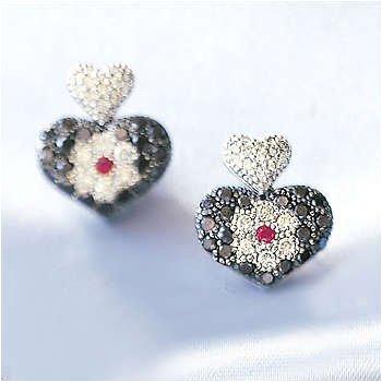 14kt Pst B & W Di & Pink Sapphire Heart