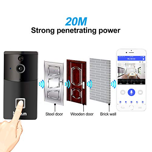 WiFi Wireless Video Doorbell Camera, Smart Doorbell 720P HD Wifi Cloud Storage Security Camera with Chime and Batteries, Real-Time Video and Two-Way Talk, Night Vision, PIR Motion Detection
