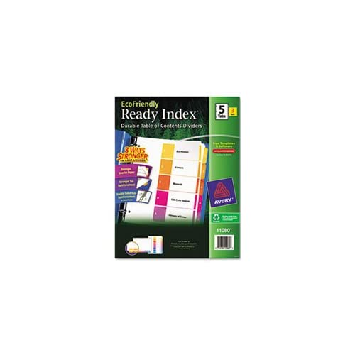 - EcoFriendly Ready Index Table of Contents Divider, Multicolor 1-5, Letter, 3/PK