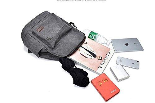 YOJAP Laptop Rucksack, Damen Herren Notebook Business Tasche mit USB Kabel und Anschluss für bis zu 15 Zoll Stylisch Leinwand Rucksäcke Gepolstert Daypacks für Arbeit Schul Outdoor Grau