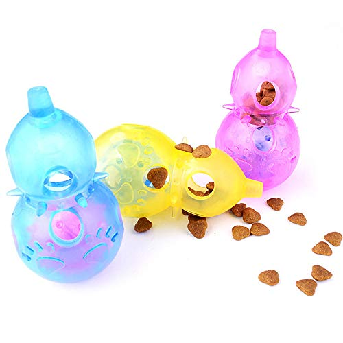 Glumes Interactive Dog Toy - Calabash Shape Food Dispenser Ball Toy With Bell for Small Medium Large Dogs Durable Chew Ball - Boredom Puzzle Toys Food Slow Feeder Tumbler IQ Treat Ball - Easy to Clean