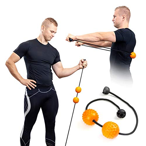 HighRoller Exercise Bands Massage Ball for Stretching, Muscle Building, Pain Relief in Arms, Back, Neck, Legs and Trigger Point Release