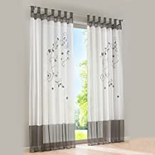 1 PCS Sheer Tap Top Window Curtain Floral Embroidered Balcony Drapes Voil Tulle Living Bed Room Panel,Grey,55x69''