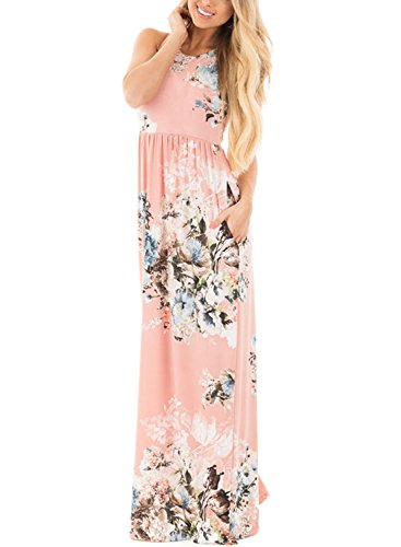 Jug&Po Women's Floral Print Sleeveless Long Maxi Casual Dress (X-Large Light Pink)