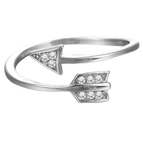 Adjustable Cupid Arrow Crystal Zircon Ring Women Girls 925 Sterling Silver Gift Jewelry Wedding (Ring Arrow Wrap)