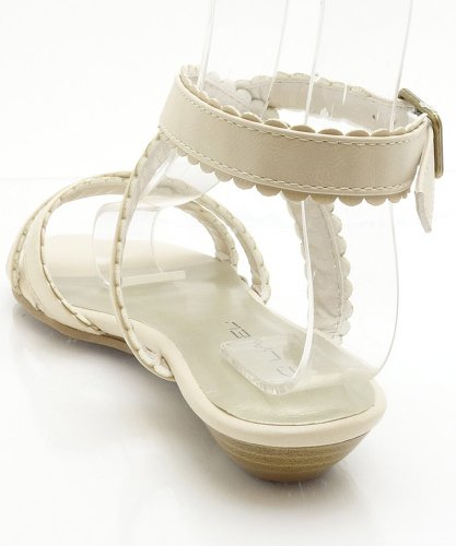 Wrap Scalloped Strappy Toe C Kitten 21 Cream Wedge Open Sandal Around Leon Label gq4AtUY