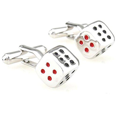 Dice Silver Cufflinks - SS Red and Black Dice Fun Copper Cufflinks for Men