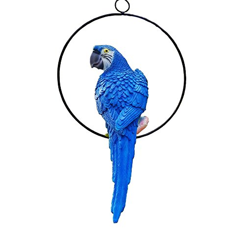 S&F Life Size Hanging Parrot Statue Like a Real Parrot Patio Lawn Ideal Decor for Nature Lovers Tropical Bird Collectors Summer Theme (Blue)