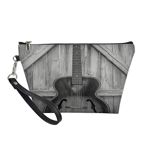 Western Useful Cosmetic Bag,Vintage Acoustic Instrument Guitar Hanged on Old Wooden Door Fences Country Ranch for Travel (Guitar Chords For Lead Me By Sanctus Real)