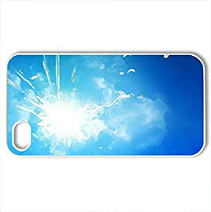 Sunny Blue Sky - Case Cover for iPhone 4 and 4s (Sky Series, Watercolor style, White)