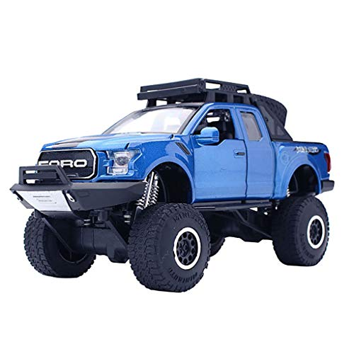 Binory 1:32 Ford F150 Raptor Pickup Diecast with Music and LED Flashing Headlight Car Model Toys,Cool Big Feet Truck Vehicle Birthday Gift for Kids Children Teens ()