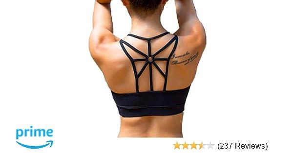 f8cafd521c7bf Amazon.com  LYZ Women s Padded Sports Bra Criss Cross Back High Impact  Strappy Yoga Bra  Sports   Outdoors
