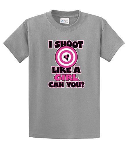 I Shoot Like a Girl - Target Bullseye - Adult T-Shirt-sportsgray-medium (Girls Like Guns)