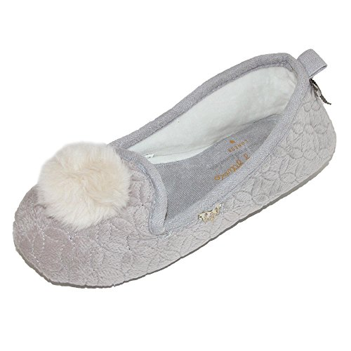 Pretty You London Women's Footwear Ballerina Pom Pom Slippers - Meryl Mocha (Large (US 8-9)) by Pretty You London