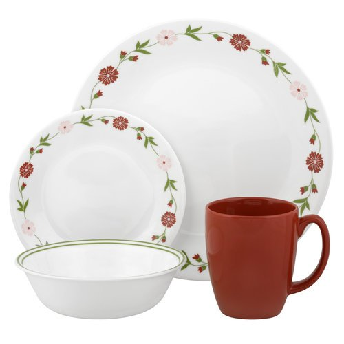 Corelle 16 Piece Charming & Simple Floral Design Livingware Dinnerware Set, Spring Pink ()