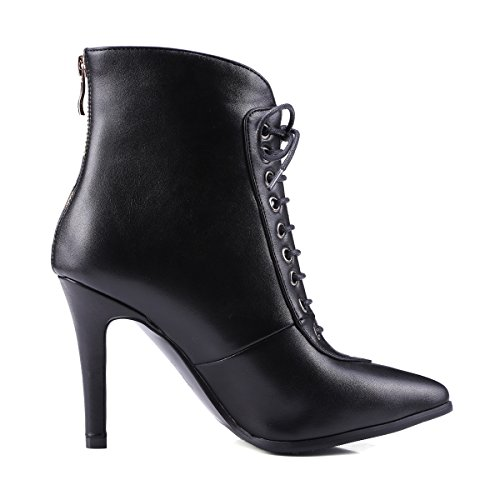 toe up Black Front Zip Back High Black thin AIWEIYi Boots Heels Womens Booties Pointed Shoes Lace Ankle qRwayE0