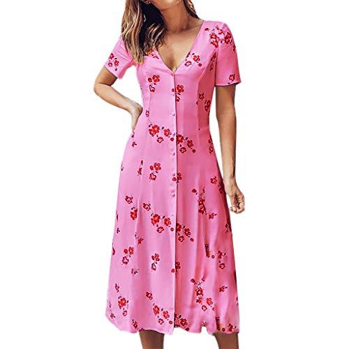 YAYUMI Women's Floral Print Short Sleeve V-Neck Button Summer Dress Long Boho Dress Hot Pink