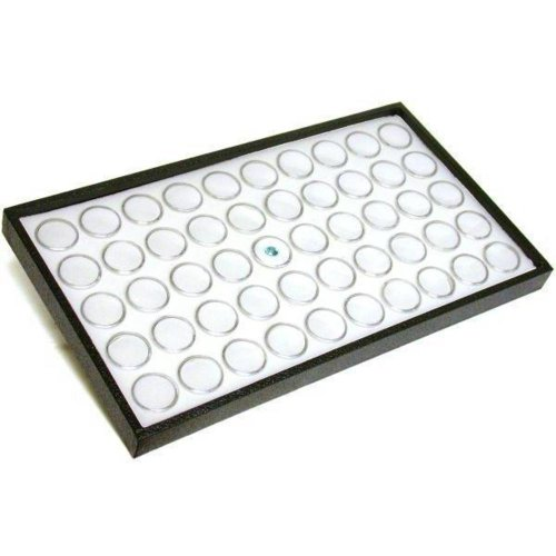 Box Crystal Tray - 50 White Foam Gem Jars Showcase Stackable Display Tray