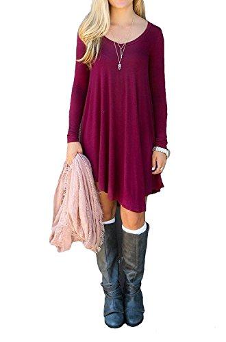 Sleeve Casual Long Sleeve Dress Womens Loose Mini Dresses(Wine Red,XL)
