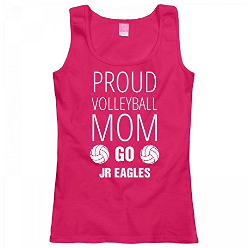 Proud Volleyball Mom Go Jr Eagles: Ladies LAT Relaxed Fit Scoopneck Tank Top (Mom Jr Raglan Proud)