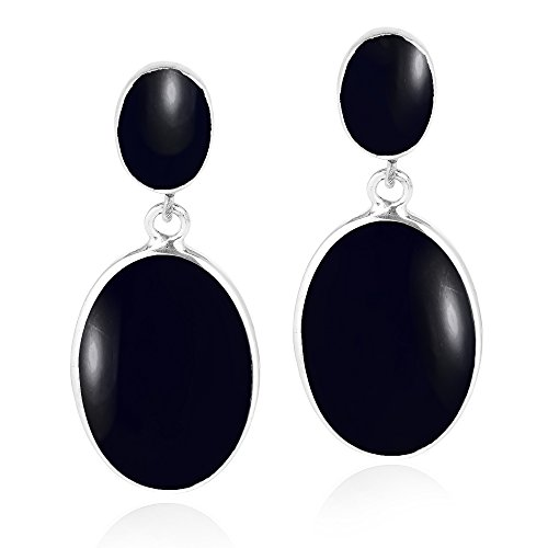(Classy Double Oval Simulated Black Onyx Inlay .925 Sterling Silver Post Drop Dangle Earrings)