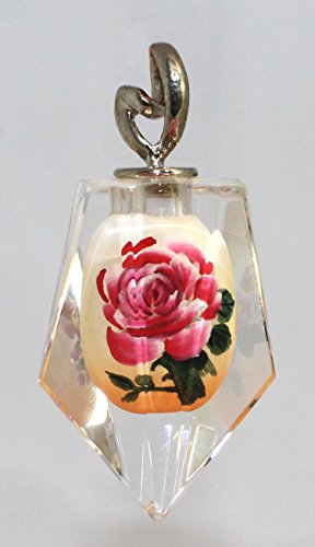 - Hand-Painted Red Camellia & Purple Flower Pendant - K9 Crystal Suncatcher, Necklace Charm
