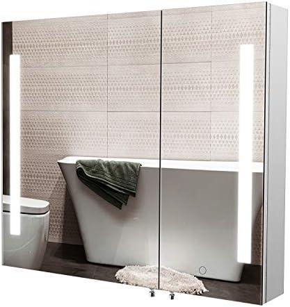 Homfa LED Lighted Bathroom Mirror Cabinet