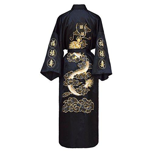 Kimono japonais pour femme, couleur: noir, bleu ou rouge -  noir - Medium