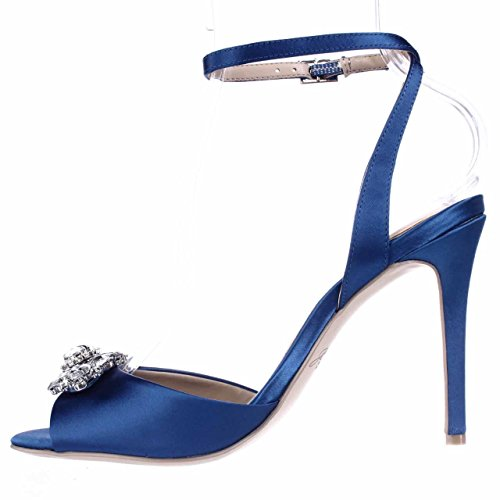 Mischka Blue Hayden Ankle Blue Heels Strap Badgley Jewel Satin 425 Women's 7nO5gWRPcq