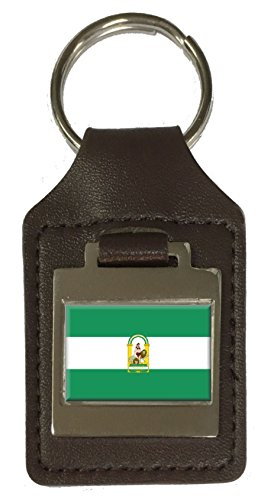 Llavero de piel con la bandera de Andalucía grabada