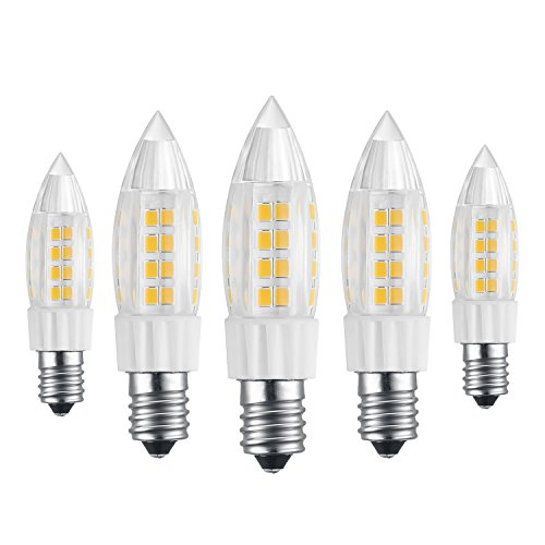 Bogao (5 Pack) LED Candelabra Bulb, 5W Warm White LED Candle Bulbs, 40 Watt Light Bulbs Equivalent, E12 Candelabra Base,400 Lumens LED Lights,Torpedo Shape White 6000K (5W Warm White)