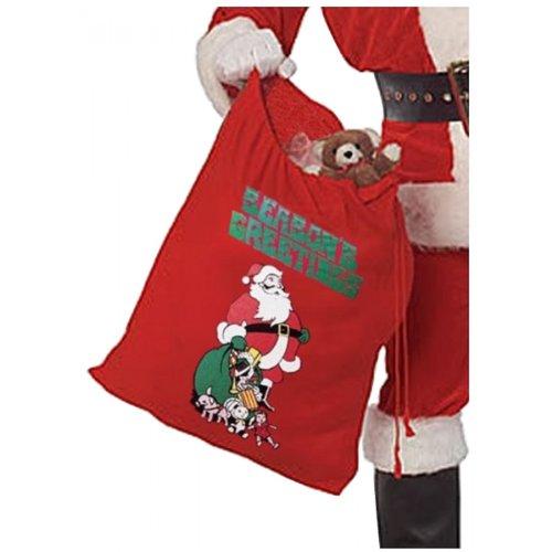 (Rubie's Printed Flannel Santa Bag, Red, One Size)