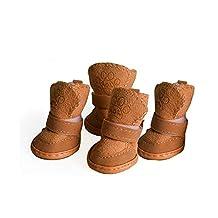 Winter Small Pet Lamb Skin Warm Teddy Puppy Dog Cotton Waterproof Shoes Anti-Slip Sole Snow Boots