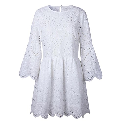 iTLOTL Womens Flowers Lace Short Sleeve Round neck Party Dress Vintage Lace Dress(US:8/CN:M, White) by iTLOTL (Image #2)