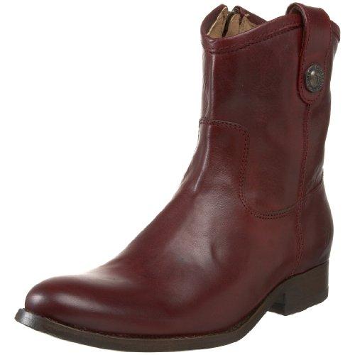 FRYE Women's Melissa Button Short Ankle Boot Bordeaux Soft Vintage Leather-77897