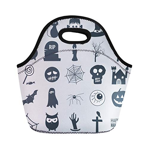 Semtomn Neoprene Lunch Tote Bag Frankenstein Various Halloween Black Cat Owl Autumn Bad Bat Reusable Cooler Bags Insulated Thermal Picnic Handbag for Travel,School,Outdoors,Work]()