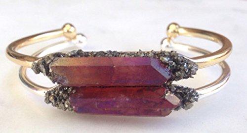 stone bracelet healing spiritual bangle crystal cuff birthday raw boho jewelry ()