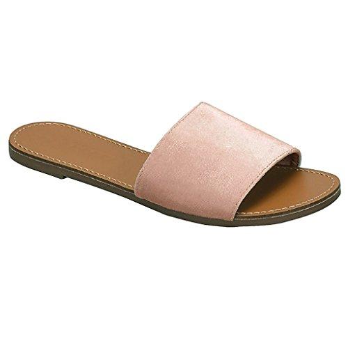 Glissière Unique Simple Sangle Des Femmes Sur La Pantoufle Plate Sandal Blush