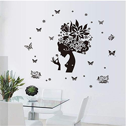 - suuyar Butterfly Beauty Silhouette Black White Creative Waterproof PVC Material Removable Bedroom Background Wall Sticker Home Decor