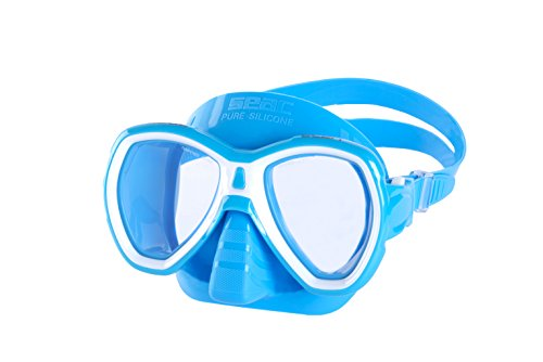 Elba Two Light (SEAC Elba Snorkeling and Swimming Soft Silicon Mask, Two Lenses, Adults Unisex S/AZ Light Blue, Light Blue)