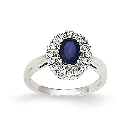 ICE CARATS 925 Sterling Silver Cubic Zirconia Cz Syn. Sapphire Band Ring Size 6.00 Gemstone Fine Jewelry Gift Set For Women Heart